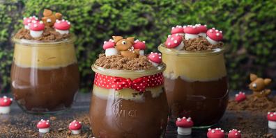 bambi in pudding mit pilzen