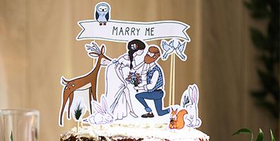 Hochzeit Cake Topper Marry Me Papier