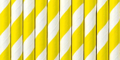 Papier Strohhalme gelb weiß