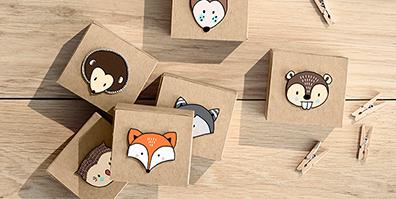 Geschenkboxen Waldtiere Kraftpapier