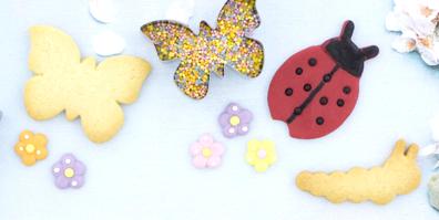 Keksausstecher Frühling Schmetterling Marienkäfer Raupe Schnecke