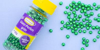Knusperperlen BackDecor grün glänzend Streudeko