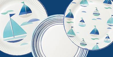 Pappteller Maritim Ahoi Blau Weiß