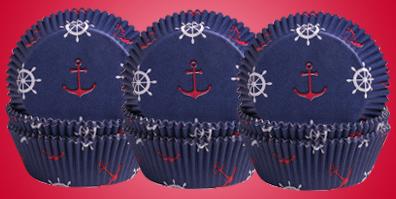Muffinförmchen blau Anker Ahoi maritim