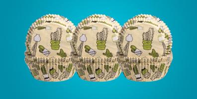 Muffinförmchen Papier Kaktus Motiv gelb