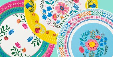 Pappteller Partygeschirr Boho Blumen floral bunt