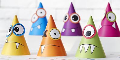 6 bunte Partyhüte Monster