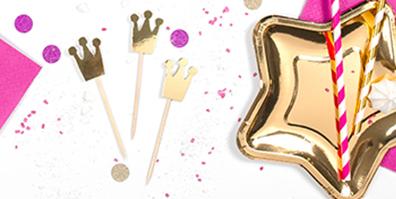 Golden glänzende Einstecker für Cupcakes, Kuchen und Torten