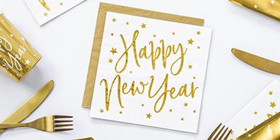 Papier Servietten Happy New Year weiß