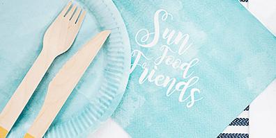 Servietten Papier Watercolour Sun Food Friends Sommer