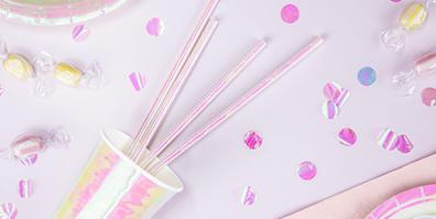 Strohhalm Trinkhalm Papier irisierend glänzend rosa