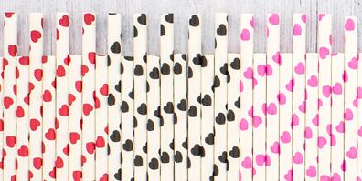 Papier Strohhalme Herzen rosa rot schwarz