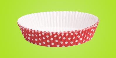 Tarteförmchen rot weiß Punkte Papier