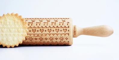 Holz Teigroller mit Prägung Norweger Muster