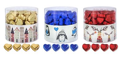 Herzen aus Schokolade im Winter Weihnachts Designe