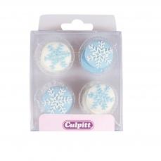 120 49 Schneeflocken Schnee Knoepfe Culpitt Culpitt Weihnachten Culpitt 12 Schneeflocken - Knöpfe, blau/weiß