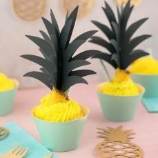 511 9 Cupcake Wrapper Tuerkis partydeco Backwelt Aloha 6 Cupcake wrappers, türkis