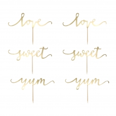 517 6 A Upcake Topper Love Sweet Yum Gold partydeco Valentinstag & Liebe 1 Cupcake Topper Set gold, Love / Yum / Sweet