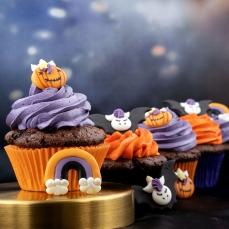 600 1 Halloween Muffinfoermchen Set Orange Lila Schwarz House of Marie Muffinförmchen Muffinförmchen Set Halloween