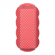 DEM 510 A Kastenbackform Polka Dot Weiss Rot Demmler Backformen 3 Einweg Kastenkuchen Backform Pünktchen weiß/rot, aufgestellt