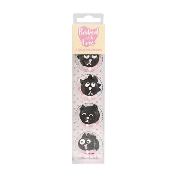 120 64 Culpitt Schwarze Katzen Zuckerfiguren Culpitt Ltd. Halloween 12 schwarze Katzen aus Zucker