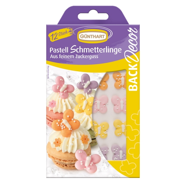 1630 Günthart Tiere BackDecor 12 Pastell Schmetterlinge aus Zucker
