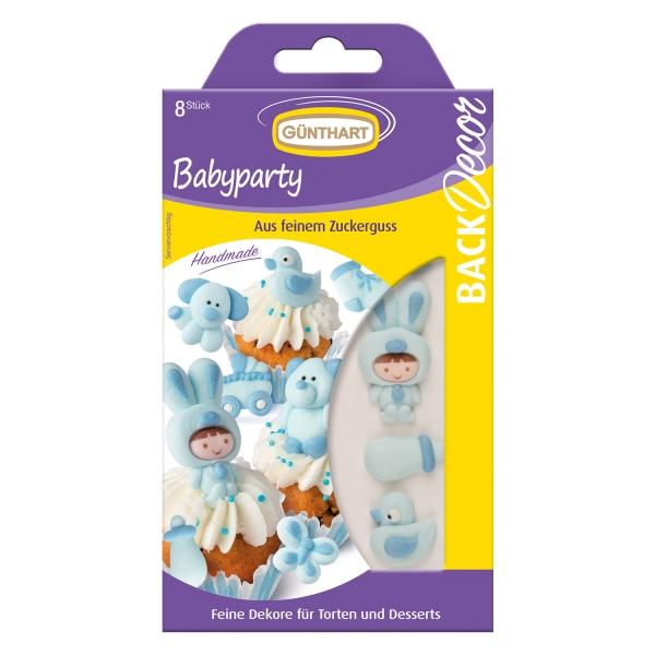 1732 1 Baby Taufe Zuckerfiguren Hellblau Günthart Taufe 8 Zuckerfiguren Baby im Strampler blau