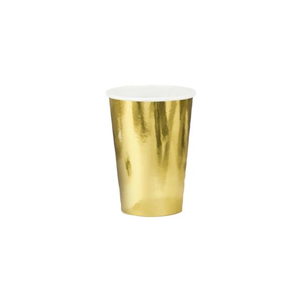 214 3 A Goldene Pappbecher Partybecher partydeco Partydeco.pl 6 Pappbecher in gold, glänzend, 220ml