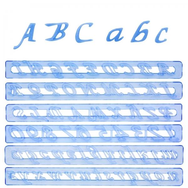 239 6 A FMM Sugarcraft Keksausstecher Kleinbuchstaben, Großbuchstaben und Zahlen Set, Kursiv
