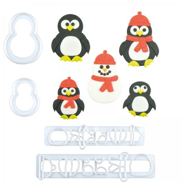 241 10 A Fmm Pinguin Familie Ausstecher Set FMM Sugarcraft Keksausstecher 1 FMM Pinguin Ausstecher
