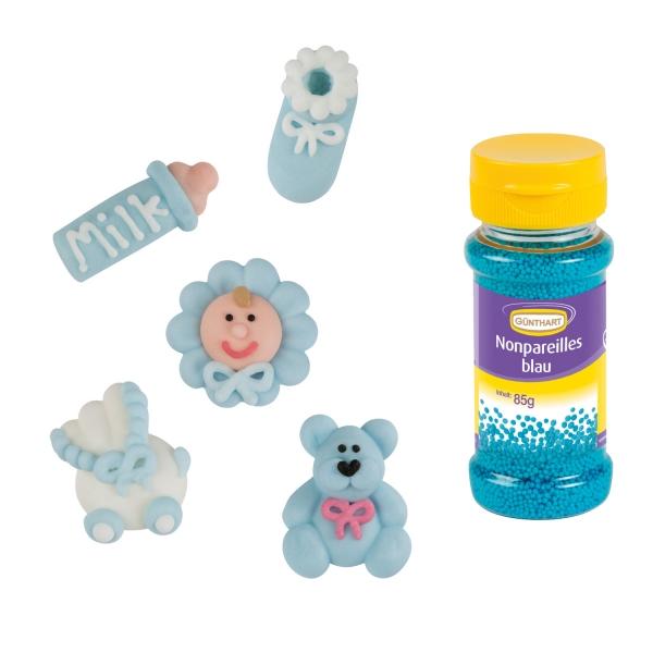2724 Taufe Babyparty Set Blau Streudeko Günthart Zuckerfiguren für Taufe & Babyparty | blau mit Streudeko