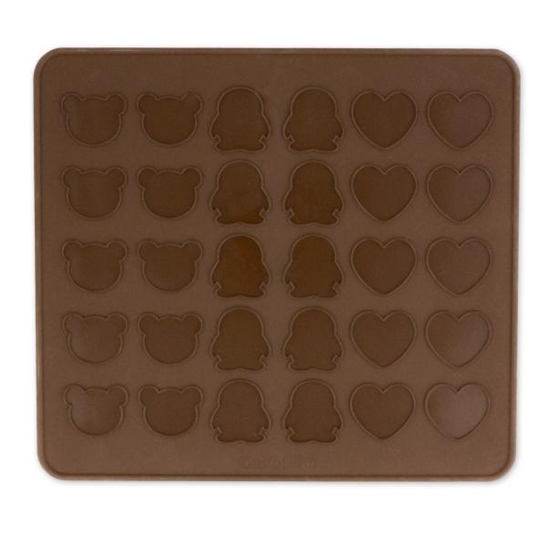315 Macaronmatte Gemischt Dolcedeco Matten / Bleche Macaronmatte Pinguin, Herz, Teddy