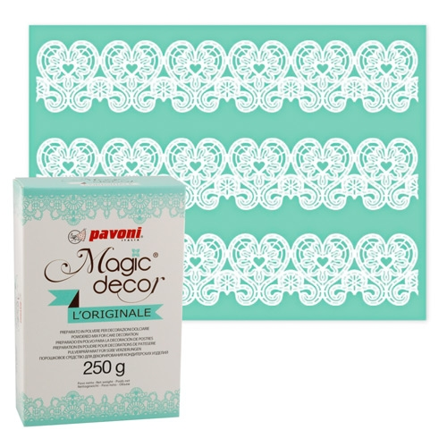491 477 Pavoni Pavoni Magic Decor Matte Herzen + Magic Decor Pulver 250gSilikonmatte Herzen und Pulver von Magic Decor als Set