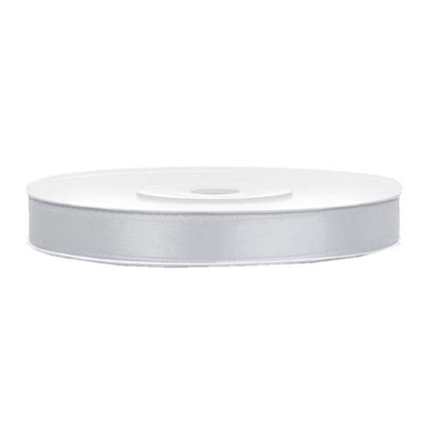 501 1013 Silber Satinband Duenn 6mm partydeco Unifarbene Bänder Satinband silber B:6mm, L:25m