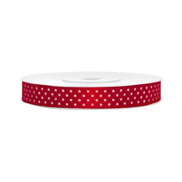 502 2satinbandgepunktetrot partydeco Gepunktete Bänder Satinband, gepunktet, rot B:12 mm, L: 25 mBand-Satinband-Geschenkband-Schleifenband-Dekoband-rot-gepunktet