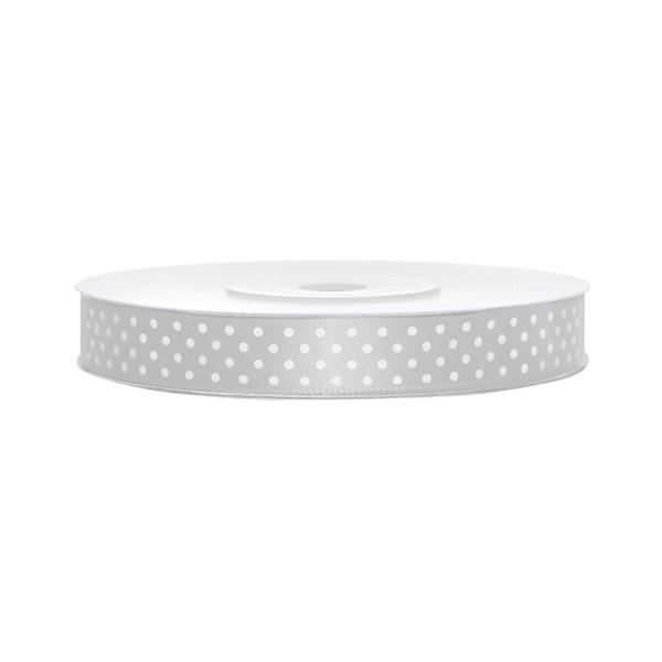 502 5satinbandgepunktetsilber partydeco Partydeco.pl Satinband, gepunktet, silber B:12 mm, L: 25 mBand-Satinband-Geschenkband-Schleifenband-Dekoband-Silber-gepunktet