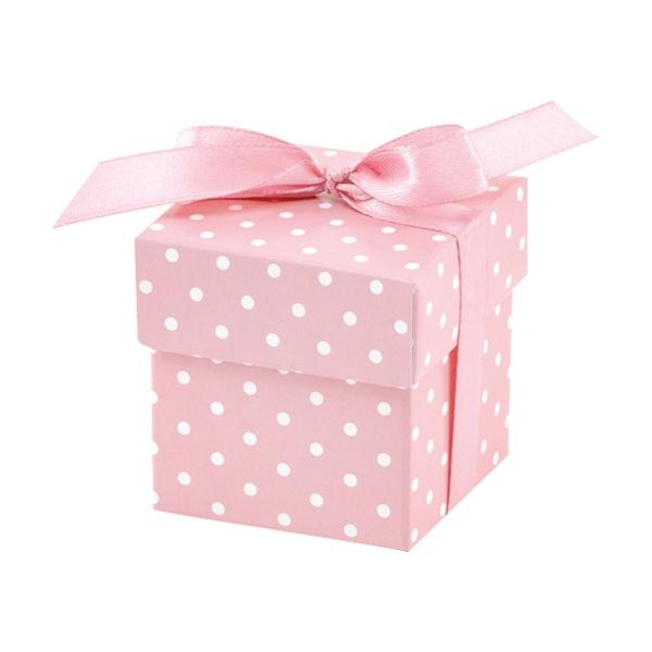 505 3 A NEU partydeco Taufe 10 kleine Geschenkboxen, rosaGeschenkbox-Gastgeschenk-Hochzeitsgeschenk-Geschenkband-Rosa