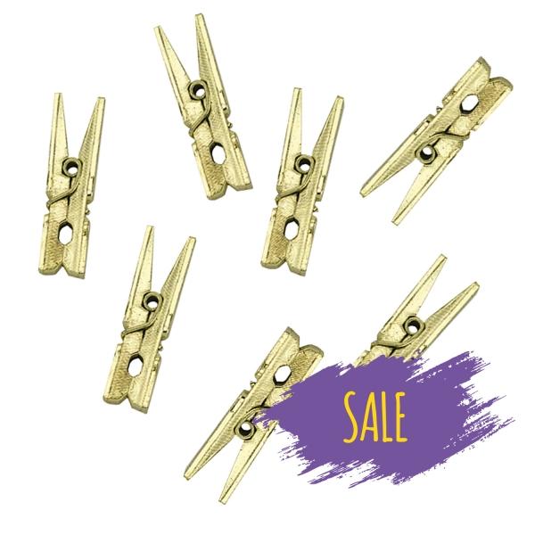 505 50 Sale partydeco Geschenktüten & Verpackungen 20 kleine Holzklammern, gold