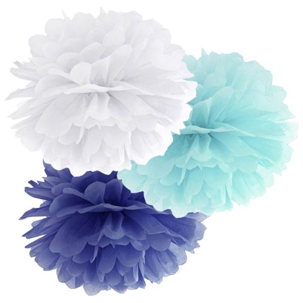 508 101 partydeco PomPoms / Wabenbälle 1 Pompom Set weiß / hellblau / dunkelblauweiß, hellblau und dunkelblau pom pom Set