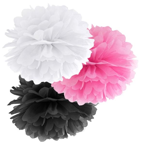 508 103 partydeco Geburtstag 1 Pompom Set weiß / pink / schwarzWeiß, Pink und Schwarz Pom Pom Set
