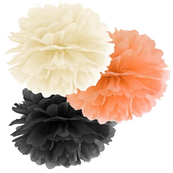 508 107 partydeco PomPoms / Wabenbälle 1 Pompom Set creme / orange / schwarzSchwarz, Orange und Creme PomPom Set