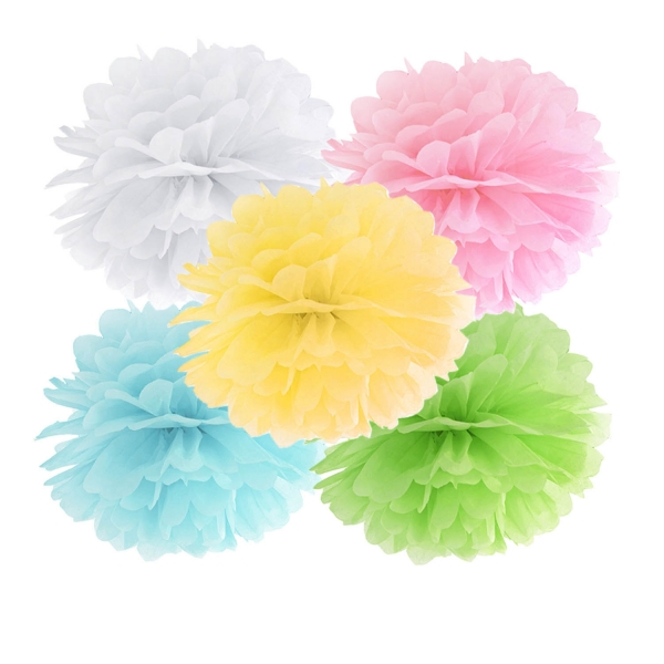 508 200 partydeco PomPoms / Wabenbälle 1 Pompomset klein weiß / rosa /gelb / hellblau /grünGrün hellblau gelb rosa weiß pompom set in klein