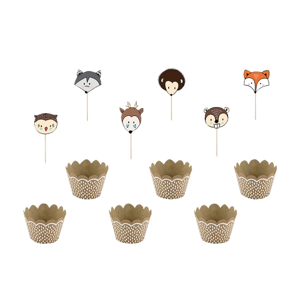 512 4 A Waldtiere Cupcake Set Herbst partydeco Cake Topper 1 Cupcake Set Waldtiere
