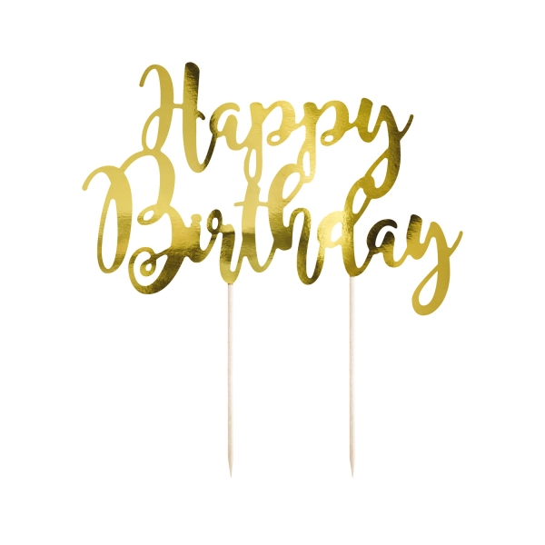 517 20 Cake Topper Happy Birthday Gold Partydeco Partydeco.pl Cake topper Happy Birthday gold