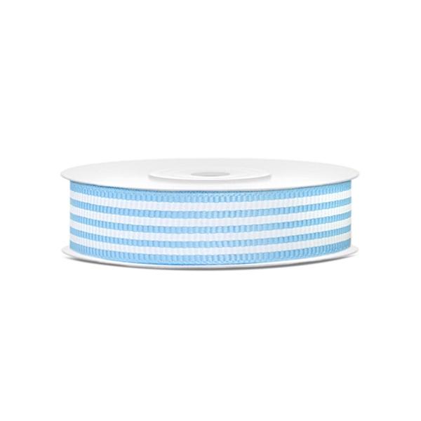 545 14 partydeco Backwelt Sonne   Meer Bedrucktes Ripsband, Weiß / hellblau, 18mm, 10m