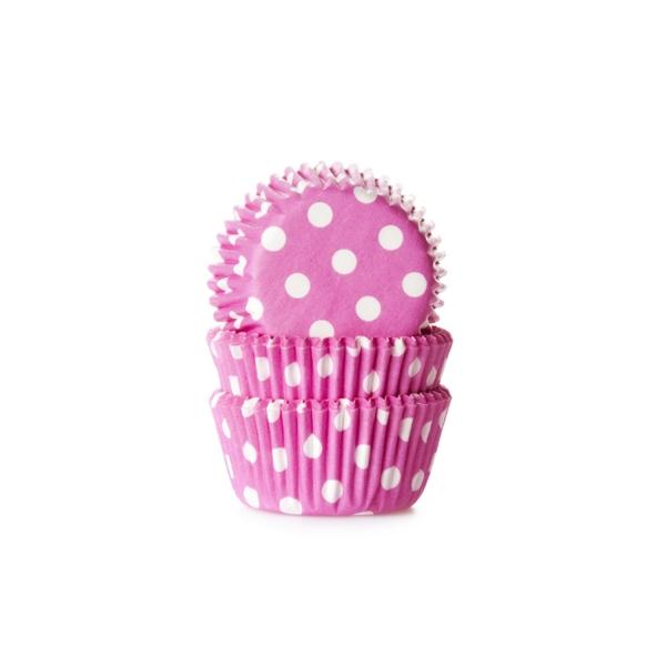 573 10 House of Marie Muffinförmchen Mini Muffinförmchen, pink weiß gepunktet
