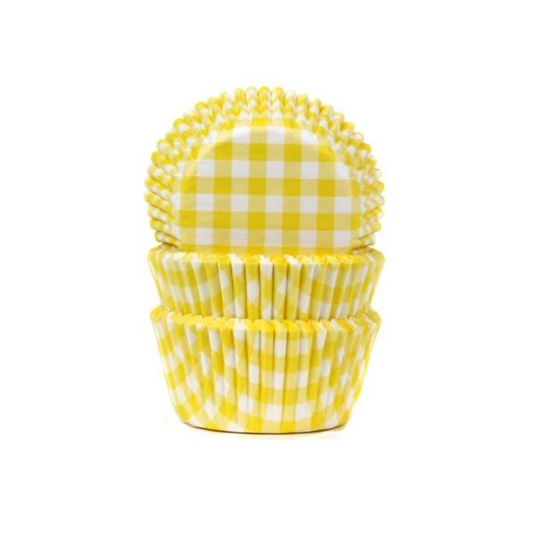 578 House of Marie Muffinförmchen Muffinförmchen, gelb weiß kariert