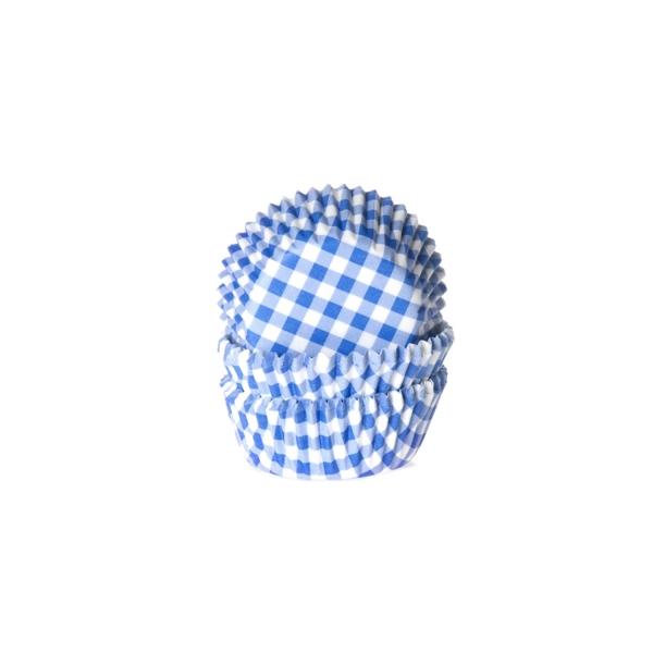 582 20 House of Marie Muffinförmchen Mini Muffinförmchen, blau-weiß kariert