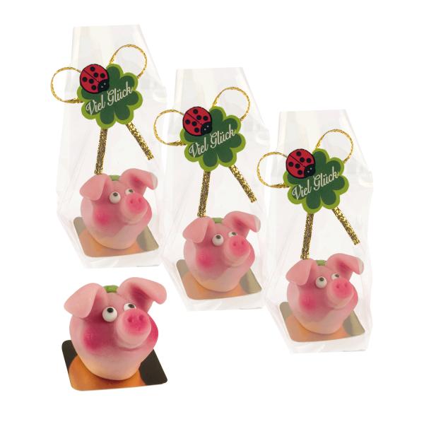 6180 Fliegenpilz Glueckspilz Neujahrgeschenk Günthart Geschenke Günthart 4 Glücksschweinchen aus Marzipan