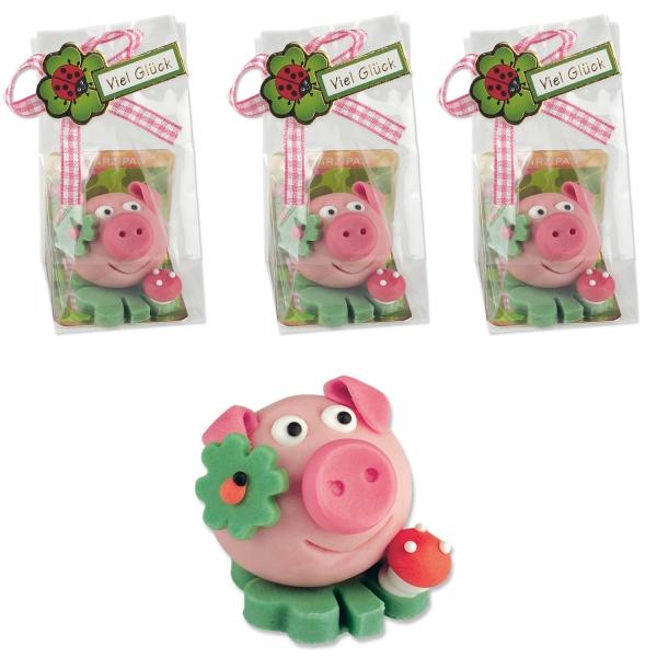 6184 Set Marzipan Schweinchen Günthart Neujahr Günthart 3 Glücksschweinchen auf Kleeblatt aus Marzipan